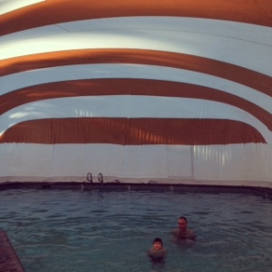 Swimming under the big top. The hotel said it had all weather swimming...except they forgot to heat the pool.